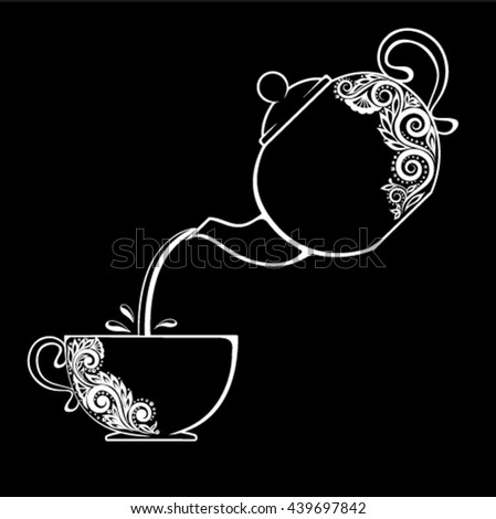 Beautiful black and white contour of the Cup and teapot. floral element isolated. Floral design greeting card and invitation of wedding, birthday, Valentine's Day, mother's day and seasonal holiday - stock vector