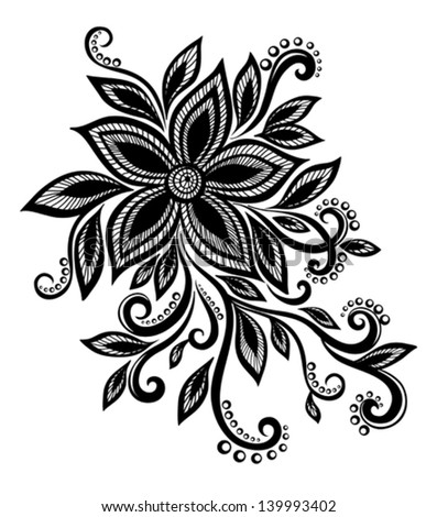 beautiful black and white flower with imitation lace, eyelets, design element. Many similarities in the profile of the artist - stock vector