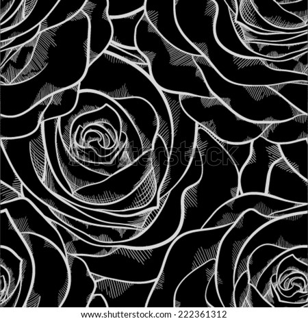 beautiful black and white seamless pattern in roses with contours. Hand-drawn contour lines and strokes. Perfect for background greeting cards and invitations of the wedding, birthday, Valentine's Day - stock vector