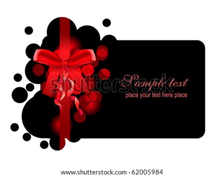 Beautiful black christmas frame with bow - stock vector