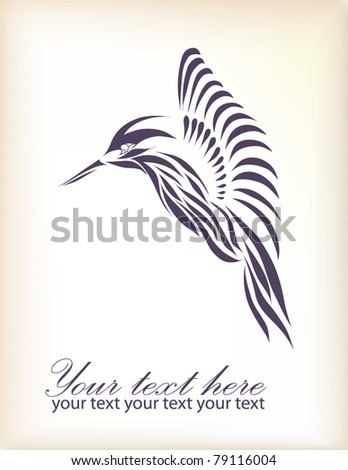 Beautiful black hummingbird isolated on white background (vector version eps 10)