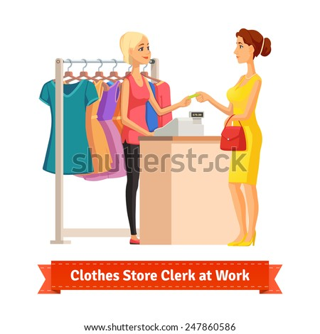 Beautiful blonde girl sales clerk taking credit card payment from a pretty woman at the clothes store or department. Pretty woman shop assistant. Flat style illustration or icon. EPS 10 vector. - stock vector