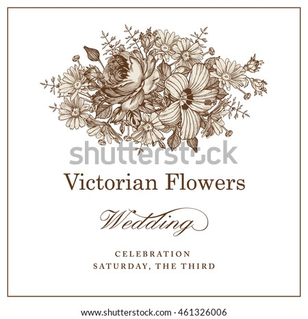 Beautiful blooming realistic isolated flowers. Vintage greeting invitation floral card. Frame, label. Drawing engraving. Chamomile Rose hibiscus mallow wildflowers. Vector victorian Illustration.