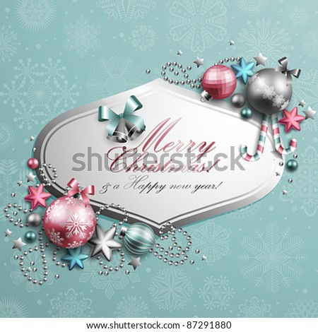 Beautiful blue and pink christmas background. Vector illustration. Check my portfolio for raster version. - stock vector