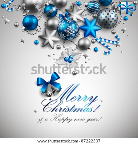 Beautiful blue and silver christmas background. Vector illustration. - stock vector