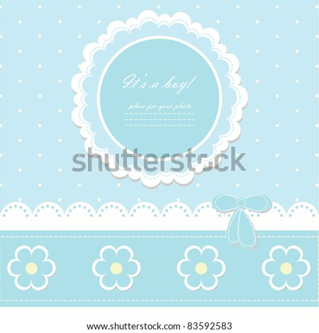 Beautiful blue baby boy card with your text for invitation, greeting, birthday, label, frame, gift and etc. (vector eps 8)  - stock vector