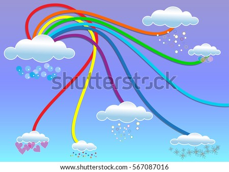 Beautiful blue background with a rainbow and magic clouds
