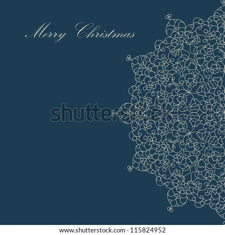 Beautiful blue colorful lace ornament for merry christmas card, background, backdrop, wallpaper, invitation, border, banner, brochure  vector eps 8 - stock vector