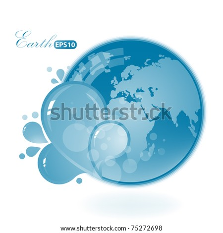 Beautiful Blue Earth on white background.Ecology illustration