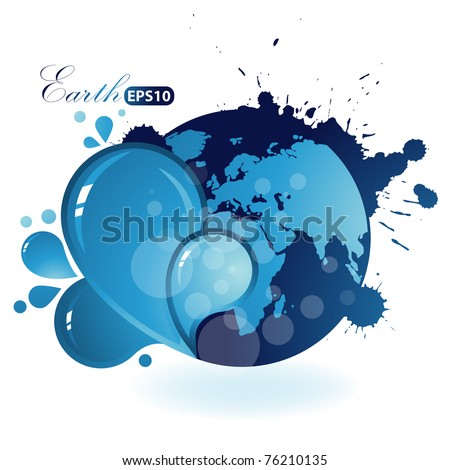 Beautiful Blue Earth on white background.Ecology illustration - stock vector