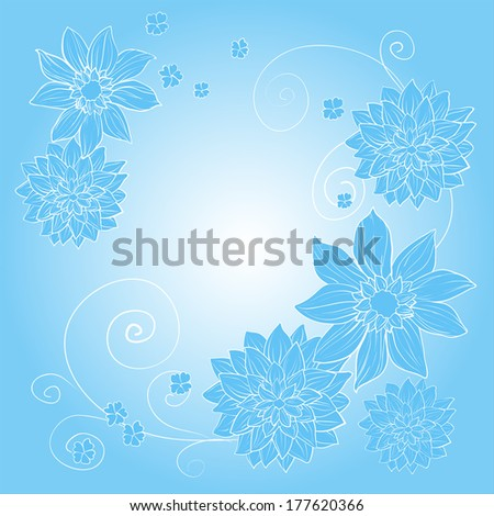 beautiful blue floral background - stock vector