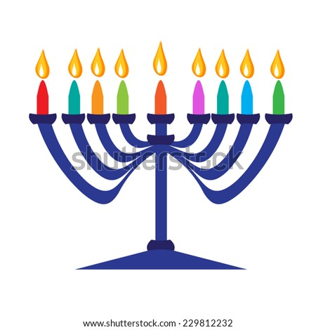 Beautiful blue menorah candlestick with multicolor candle and flame. Vector flat illustration for Hanukkah, jewish holiday. Eps 10. Isolated on white background.  - stock vector