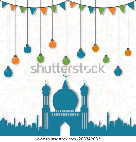 Beautiful blue mosque with colorful hanging lights and bunting decoration on artistic floral pattern background for Islamic holy month of prayers, Ramadan Kareem celebration.  - stock vector