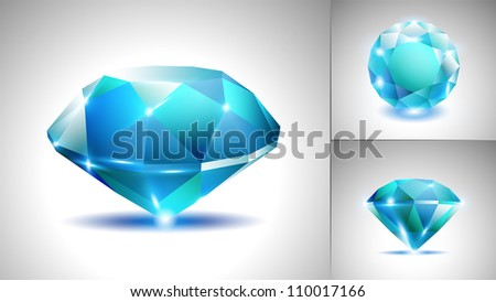 Beautiful blue sapphire diamond (vector set) - stock vector