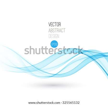 Beautiful Blue Smoke. Waved Background, Vector Illustration - stock vector