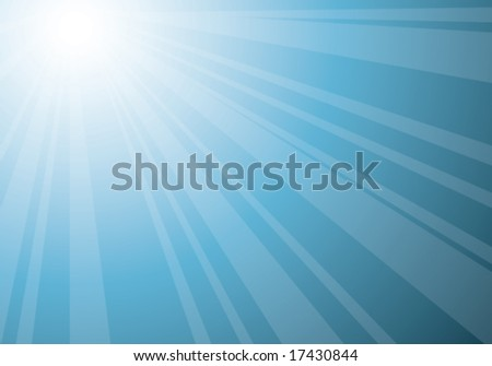 beautiful blue sunburst, vector abstract background