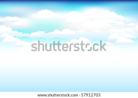 Beautiful  Blue Vector Sky And Clouds - stock vector