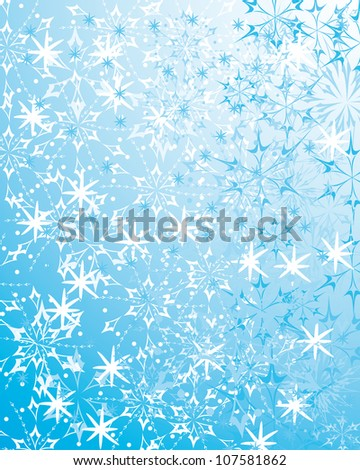 beautiful blue winter background with various snowflakes and gentle elements. Abstract vector pattern