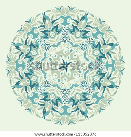 Beautiful blue winter color lace ornament vector eps 8 for merry christmas card, background, backdrop, wallpaper, invitation, border, banner, brochure - stock vector