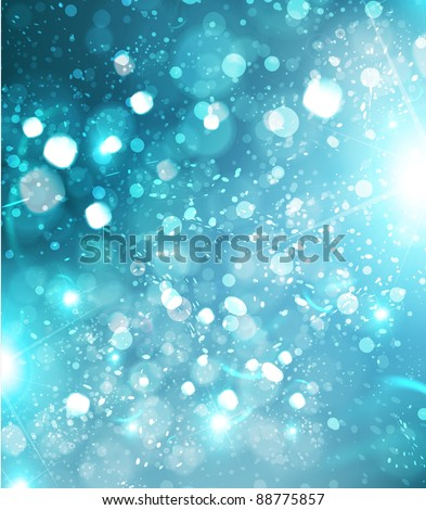 Beautiful blue xmas winter background with glow snowflakes and sparks, Christmas design - stock vector