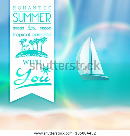 Beautiful blur beach with white sand, emerald sea, sailboat and sunrays. Text for travel agents. Summer offers - stock vector