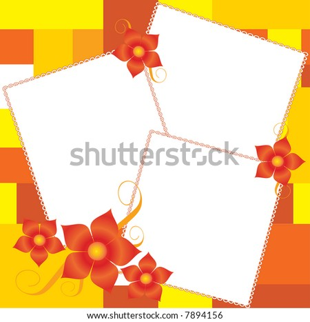 Beautiful border for pictures with flower,vector - stock vector