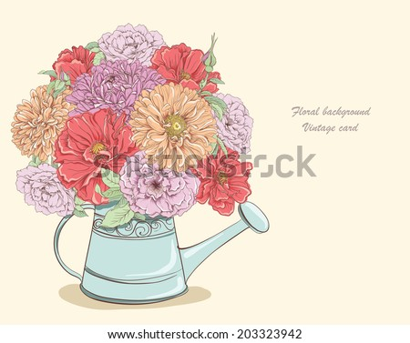 Beautiful bouquet of flowers in watering can. Hand drawn vector illustration - stock vector