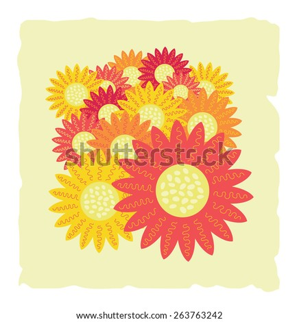 Beautiful bouquet of red and yellow sunflowers top view. - stock vector