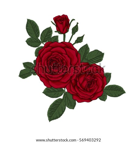 Beautiful Bouquet With Red Roses And Leaves Floral Arrangement Design Greeting Card Invitation