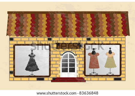 Beautiful  boutique with clothes in the shop window. Vector - stock vector