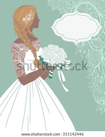 Beautiful bride holding a rose bouquet with frame for text, vector illustration for greeting card or invitation