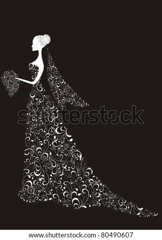 Beautiful bride with floral dress and veil - stock vector