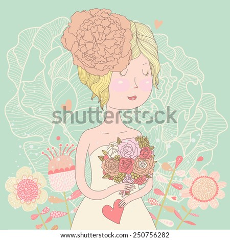Beautiful bride with flowers in vector. Cute invitation card with blonde girl in wedding dress with peony flowers in pastel summer colors  - stock vector