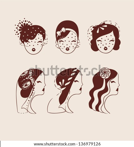 beautiful brides with different veils and hair styles hand drawn vector illustration eps 10 - stock vector