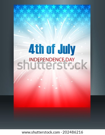 Beautiful brochure 4th July American independence day template vector  - stock vector