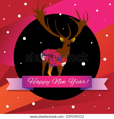 Beautiful brown Deer with big horns and colorful flowers inside on black and red background Happy New Year card - stock vector