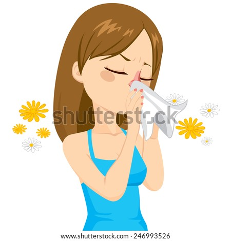 Beautiful brown haired girl sneezing blowing nose on white tissue because of spring allergy - stock vector