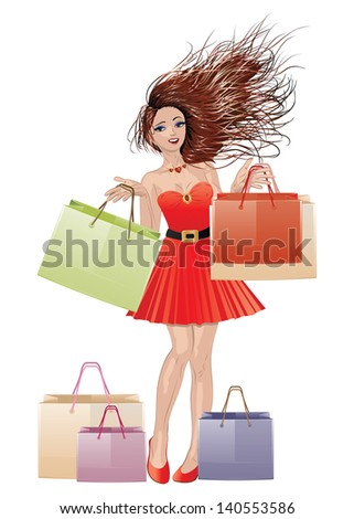 Beautiful brunette girl in red dress with shopping bags on white background. - stock vector