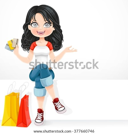 Beautiful brunette girl with a credit cards in his hand sitting on a white banner isolated on white background - stock vector