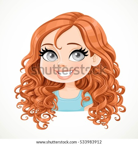 beautiful brunette girl magnificent brown curly stock vector rh shutterstock com girl with curly hair cartoon cartoon girl with red curly hair