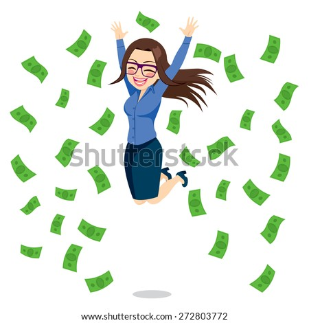 Beautiful brunette happy businesswoman jumping surrounded by green money bills falling - stock vector