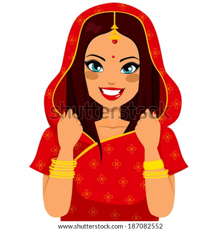 Beautiful brunette indian woman smiling happy with traditional red sari - stock vector