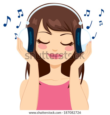 Beautiful brunette woman listening to music with white earphones - stock vector