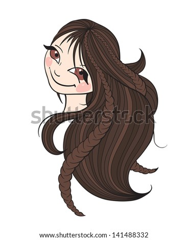 Beautiful brunette woman with long hair. Vector illustration. - stock vector