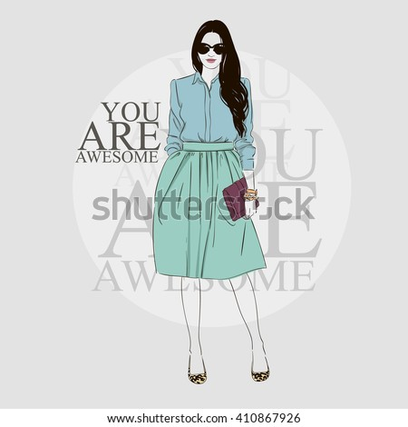 Beautiful brunette young women in denim blouse, high heel shoes and  blue midi skirt with handbag and sunglasses. Vector hand drawn illustration. - stock vector