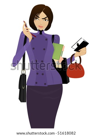 Beautiful Businesswoman speaks on the cell phone and checking her task list - stock vector