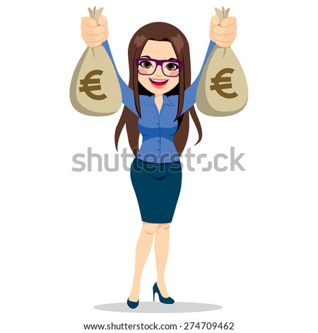 Beautiful businesswoman wearing glasses and suit holding two big euro money bags happy - stock vector