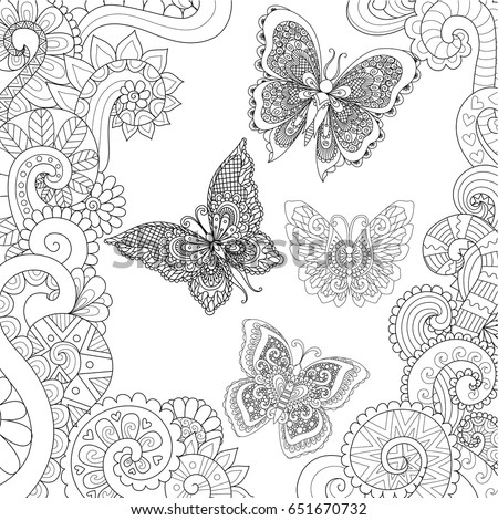 Beautiful Butterflies Flying In The Floral Jungle Design For Adult Coloring Book Pages Vector Illustration