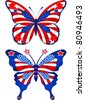 Beautiful butterflies in different colors representing USA - stock vector