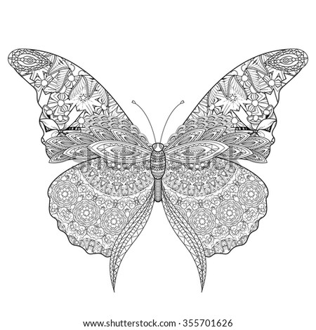 Stylized butterfly stock vector 125029046 shutterstock for Beautiful butterfly coloring pages